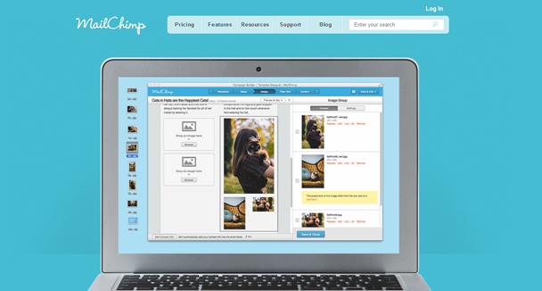 mailchimp homepage simple design